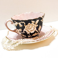 Paragon Tea Cup, Blush Pink and Black, Wild Rose, Art Deco, Textured Surface, 1930s