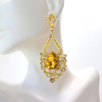 Citrine Earrings Chandelier Earrings Rhinestone Gold Drop Dangle Earrings Large Citrine Yellow Orange Statement Vintage Earrings Jewelry