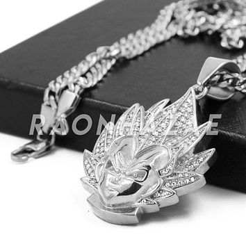Stainless Steel Silver Iced Out DragonBall Z Goku Pendant w/Cuban Chain