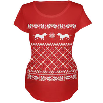 Dachshund Ugly Christmas Sweater Red Maternity Soft T-Shirt