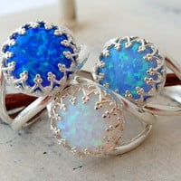 White opal ring, Bright blue mint opal ring, Blue opal ring, Sterling Silver ring, Gemstone ring, October birthstone ring, Silver or gold