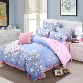 Bedroom Dobby Jacquard 100% microfiber fabric flat screen printing bedding set king quilt cover double bed sheets pillowcase