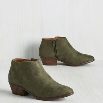 Minimal Ritual Bootie in Moss | Mod Retro Vintage Boots | ModCloth.com