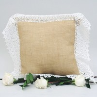 Natural Burlap Pillow with Lace Trim 16 x 16 | The Maggie Mae Pillow