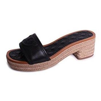 CREY3DS Tory Burch Fleming 50mm Slide Espadrille Black Leather
