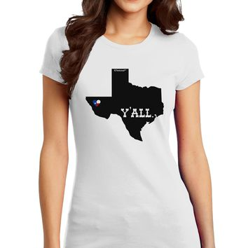 Texas State Y'all Design with Flag Heart Juniors T-Shirt by TooLoud