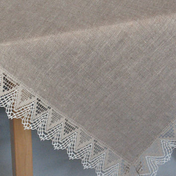 "Tablecloth Christmas Tablecloth Square Lace Tablecloth Linen Tablecloth Christmas Gift Burlap Tablecloth Prewashed Linen Lace 57"" x 57"""