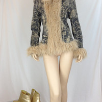 Wilsons Leather Maxima Leather Jacket with Faux Fur Trim and Unique Jean Print