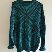 Pattern Teal Grandpa Sweater Vintage Oversized 90s M