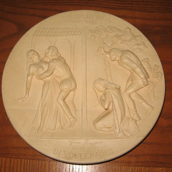 RIGOLETTO Verdi Opera Collectors Alabaster Plate Limited Edition Numbered Gino Tuggeri dated 1976 Handmade in Tuscany