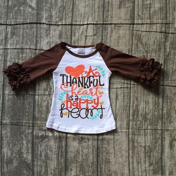 fall/winter baby girls thanksgiving cotton icing sleeve top t-shirts raglans thankful heart is a happy heart children clothes