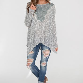 Gray Lace Loose Long Sleeve Asymmetrical Shirt