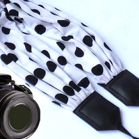 Dots scarf camera strap. DSLR / SLR Camera accessories. Black and white camera strap for Canon, Nikon, Fuji & other cameras.