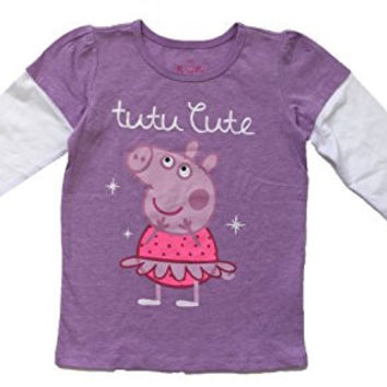 Peppa Pig Graphic Long Sleeve T-shirt Purple Tutu Cute (5t)