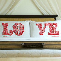 Personalized LOVE Connection Couples Pillow by 1000CustomGifts