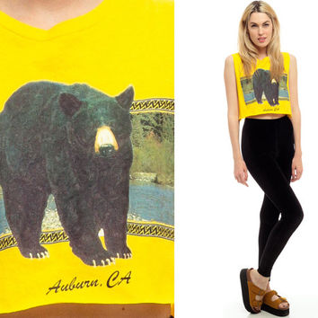 Bear Tank Top 80s CROP TOP Animal Shirt Black Bear Low Armhole Cut 1980s Hipster Vintage Wildlife Cropped Cutoff Bright Yellow Small Medium