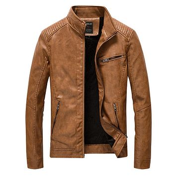 Mens Stand Collar Motorcycle Jacket