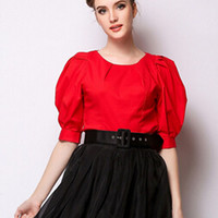 Red Puff Sleeve Pleated Blouse