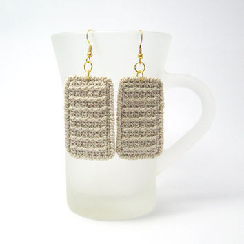 Rectangle Fabric Jewelry Earrings Crochet Geometric by Aimarro