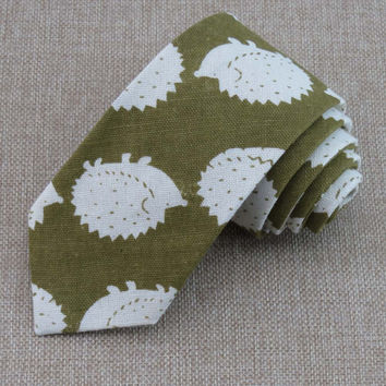 New tie printed white hedgehog green necktie Fashion design unique rare personality for men Clothing accessories