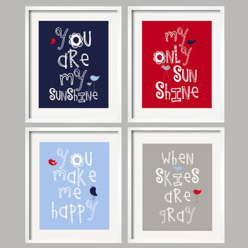 You Are My Sunshine Navy, Red, Blue and Gray for Logan Bedding, 4 prints 8x10 nursery art, baby shower gift, for Pottery Barn Bedding