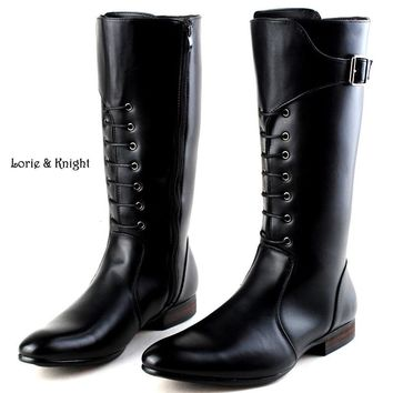 Classic Black Men British Motorbike Riding Horse Riding Boots Military Winter Boots Cowboy Martin Boots