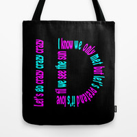One Direction - Crazy, Crazy, Crazy Tote Bag by Alice Gosling