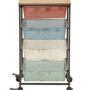 Colorful And Portable Metal Wood Storage Cart