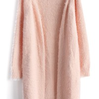 Comfy Fluffy Knitted Cardigan in Pink