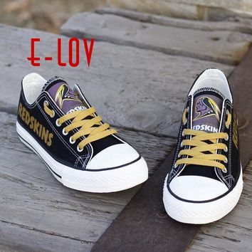 Washington Redskins Paint Canvas Shoes Draw Leisure Shoes Men Boys Print Logo Shoes