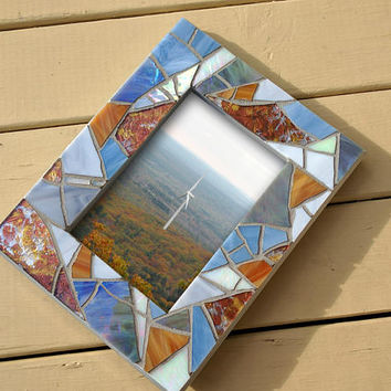 4x6 Photo Mosaic Frame, Silver Gray Mosaic Picture Frame, Silver Blue Stained Glass Photo Frame