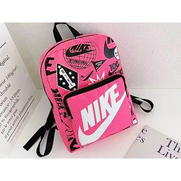 NIKE sells big monogram printed backpacks fashionable shopping backpacks for men and women Rose Red