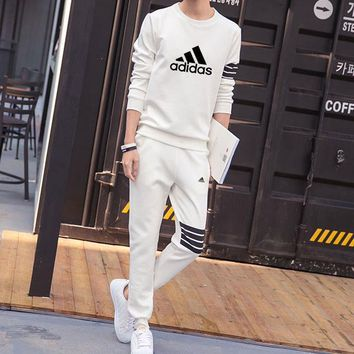Adidas Women Men Fashion Casual Top Sweater Pants Trousers Set Two-Piece-38