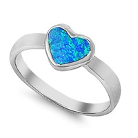 Sterling Silver Heart Bezel 8MM Blue Lab Opal Ring