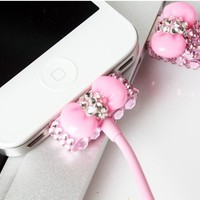 [grhmf2500001]Pink Rhinestone Bow USB Cable Cord (1M) & USB Power Charger For Iphone 4/4s