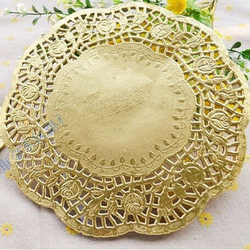 100 pcs/lot 6.5''=165mm Gold Round Paper Lace Doilies / Doyleys,Placemat Craft Wedding Christmas Tableware Decoration