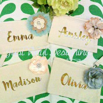 Cosmetic Bag, Wristlet, Personalized Bridesmaid, Flower pin