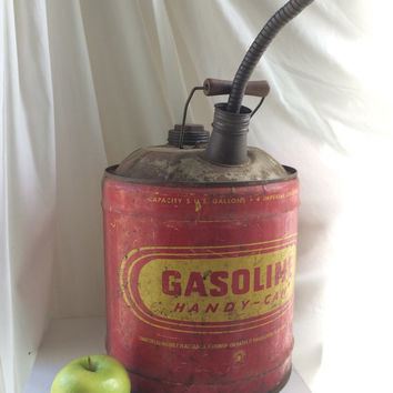 Mid Century Garage Gasoline Tin Can with handle