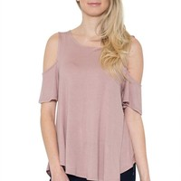 Casual  Cold Shoulder Short Sleeve Hi-Low Loose Tunic Top