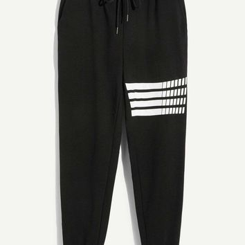 Men Elastic Waist Drawstring Striped Pants