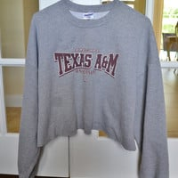 Texas Aggies University Cropped Crewneck Sweatshirt Vintage 90s Oversized XXL