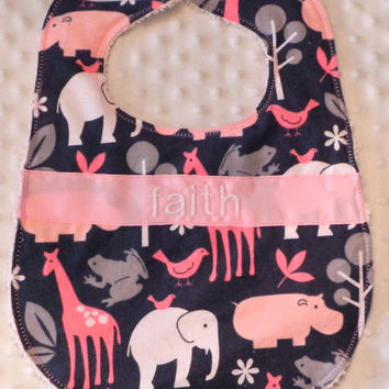 Personalized Bib - Baby Girl Pink and Gray Flannel Zoology Animals