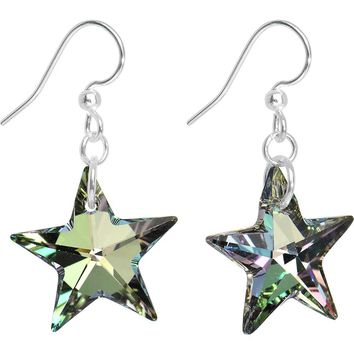 Vitrail Green Crystal Star Dangle Earrings Created with Swarovski Crystals