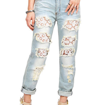 Peekaboo Lace Mid-Rise Girlfriend Jeans