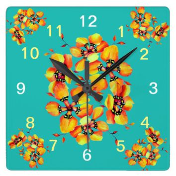 Elegant Orange Flowers - Aqua Square Wall Clock