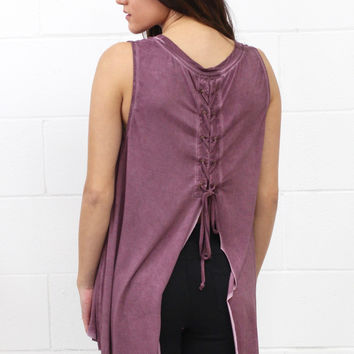 Watch My Back Lace Up Mineral Wash Tank {Berry}