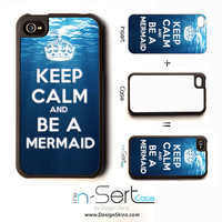 NEW Keep Calm & Be a Mermaid n-Sert iPhone 4, 4s, 5 Case with Changeable Inserts
