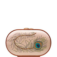 Peacock Feather Embroidered Oval Bag by Katrin Langer - Moda Operandi