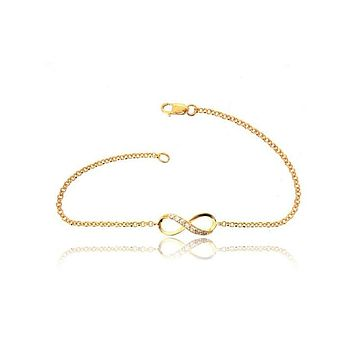 INFINITY STONE YELLOW GOLD CHAIN BRACELET