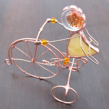Angel Cyclist Figurine Handmade souvenir Gift for sportsman athlete Stained glass handmade statuette for home decor Gift idea Angel's Day